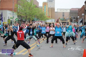Derica Wade, Zumba Instructor, leads a class in Ann Arbor